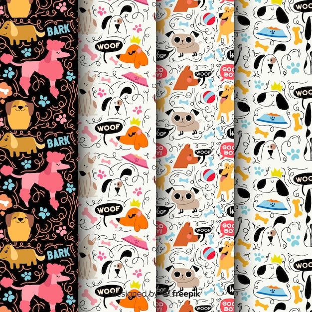 Cães de doodle colorido e pacote de padrão de palavras Vetor grátis