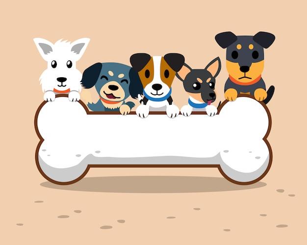 Cães dos desenhos animados e grande sinal de osso Vetor Premium