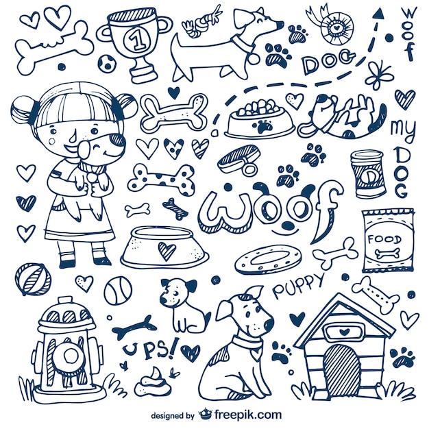 Cães e animais de estimação doodles Vetor Premium