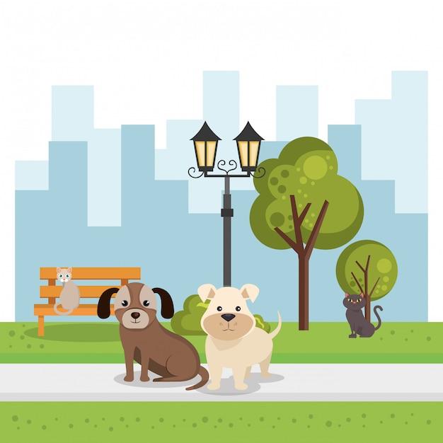 Cães fofos na cena do parque Vetor grátis