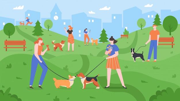 Cães no parque. os animais de estimação que jogam no parque do cão, as pessoas andam e brincam com os cães no quintal ao ar livre, ilustração colorida da paisagem urbana do parque do cão. proprietários de animais treinando filhotes, passeando juntos Vetor Premium