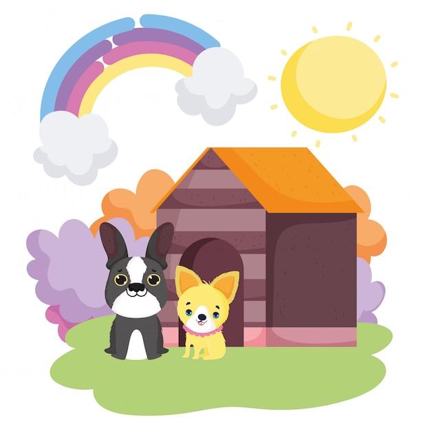 Cães sentado frente casa de madeira paisagem Vetor Premium