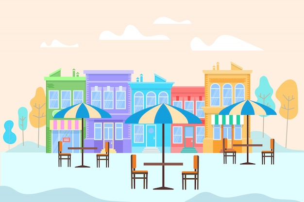 Café ao ar livre de verão com mesas e ubbrellas Vetor Premium