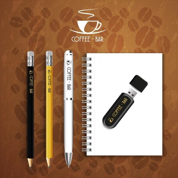 Café-bar logo set de papelaria Vetor grátis