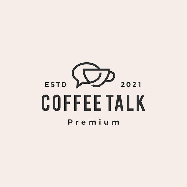 Café conversa bolha hipster logotipo vintage Vetor Premium