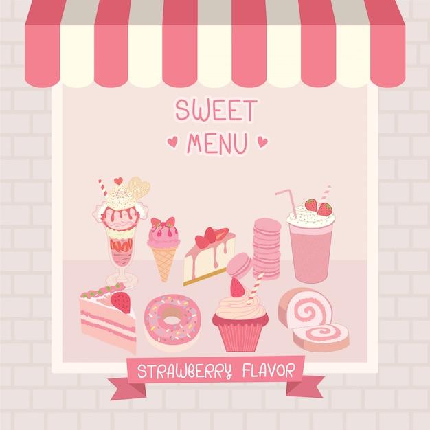 Café cor-de-rosa doce Vetor Premium