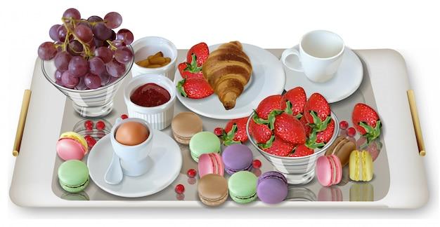 Café da manhã com croissant Vetor Premium