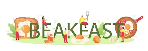 Café da manhã com saborosa palavra tipográfica de ovos fritos. ovos mexidos. comida deliciosa pela manhã. gema amarela. isolado Vetor Premium