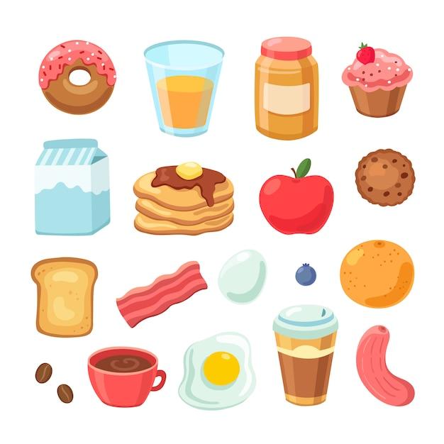 Café da manhã dos desenhos animados. bagel bacon jam ovo sanduíche saudável frutas e sucos. conjunto de refeição de café da manhã Vetor Premium
