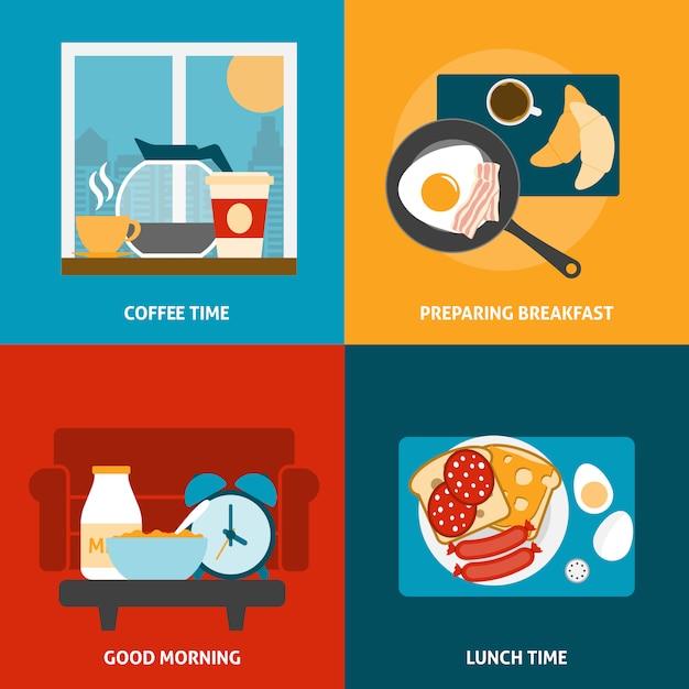 Café da manhã e almoço banner conjunto Vetor grátis