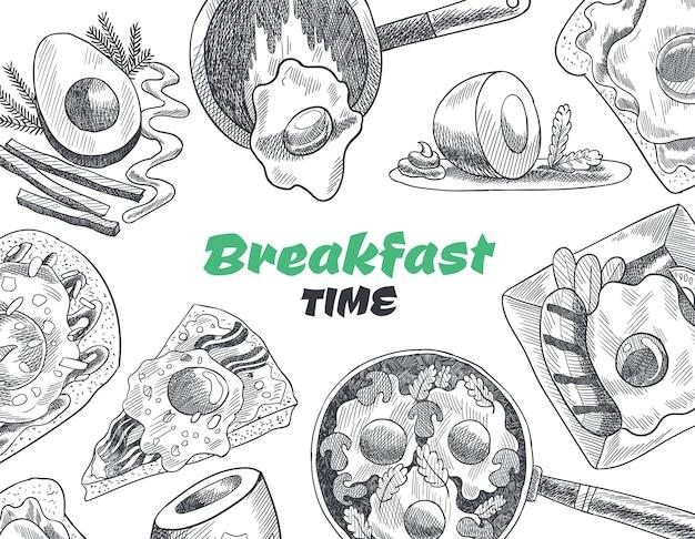 Café da manhã e brunch com vista superior. ilustração do esboço desenhado de mão vintage. Vetor Premium