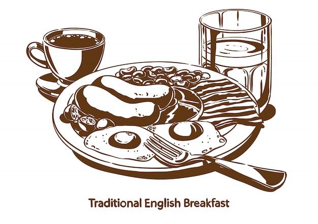 Café da manhã inglês tradicional Vetor Premium