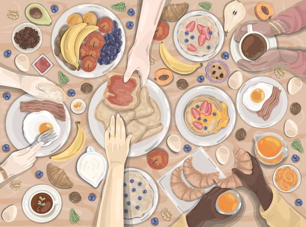 Café da manhã, jantar, hotel, conjunto de alimentos Vetor Premium