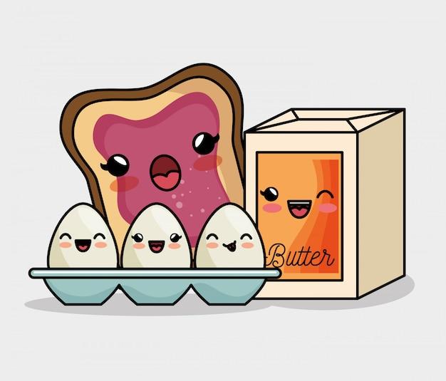 Café da manhã kawaii ovos manteiga e geléia de pão Vetor grátis