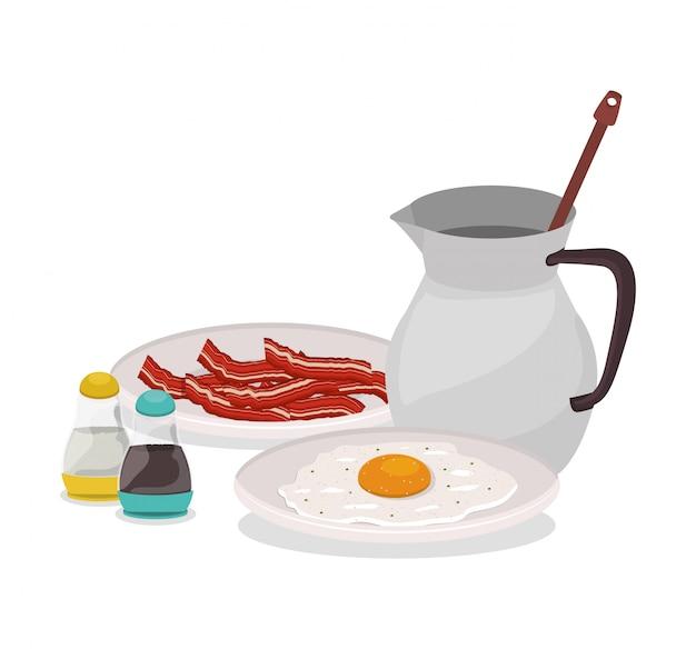 Café da manhã ovo bacon e chocolate design, comida refeição produto fresco produto natural mercado premium e cozinhar tema ilustração vetorial Vetor Premium