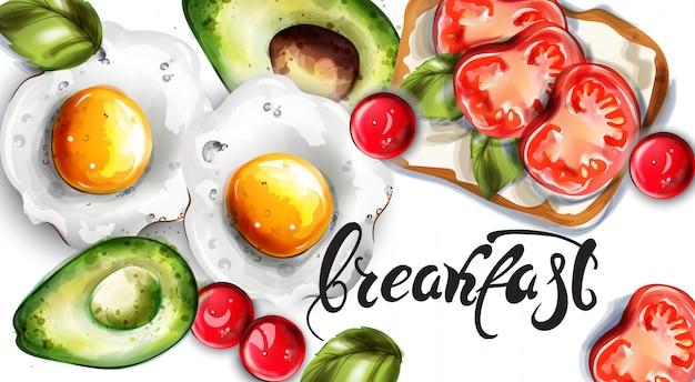 Café da manhã ovos abacate e torradas Vetor Premium