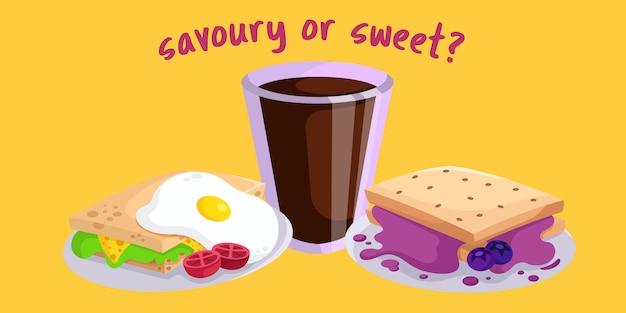 Café da manhã salgado ou doce Vetor Premium