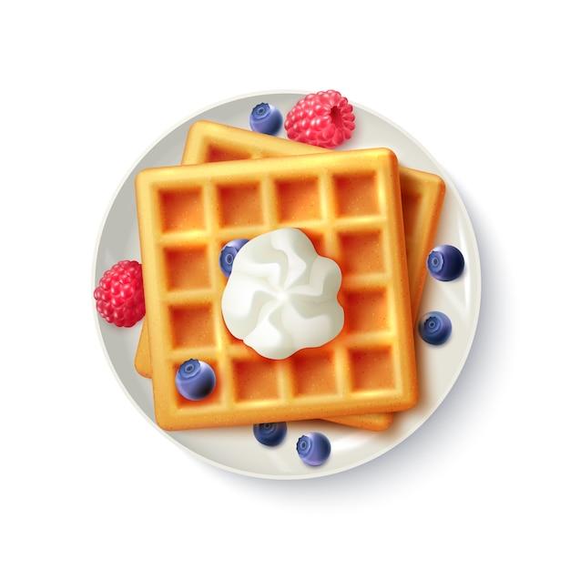 Café da manhã waffles realista vista superior imagem Vetor grátis