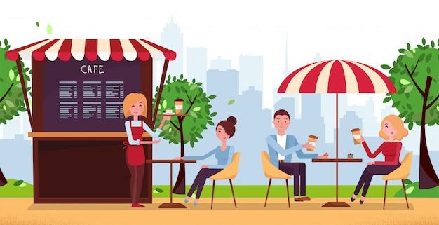 Café do parque com guarda-chuva. os povos bebem o café no café exterior da rua do vetor no terraço do restaurante. Vetor Premium