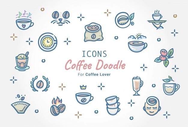 Café doodle conjunto de ícones Vetor Premium