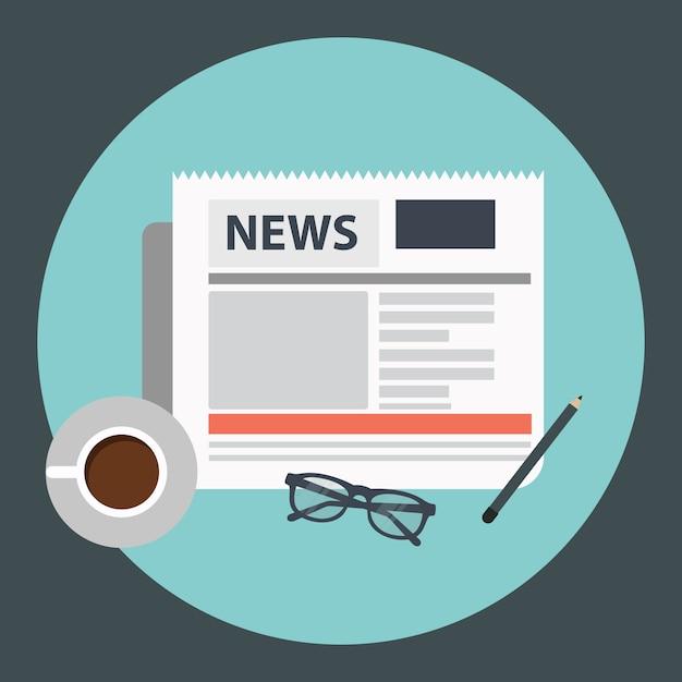 Café e jornal Vetor grátis