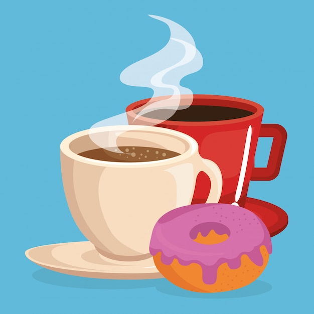 Café e rosquinha comida deliciosa café da manhã Vetor grátis