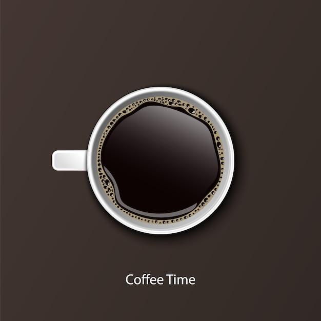 Café em xícaras brancas, vista de cima Vetor Premium