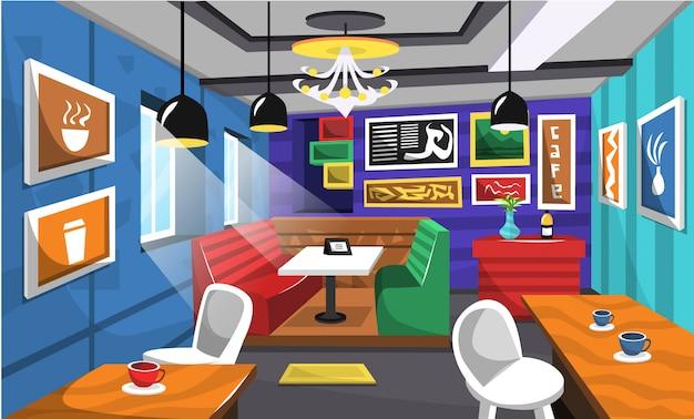 Café limpo idéias interiores com imagens artísticas Vetor Premium