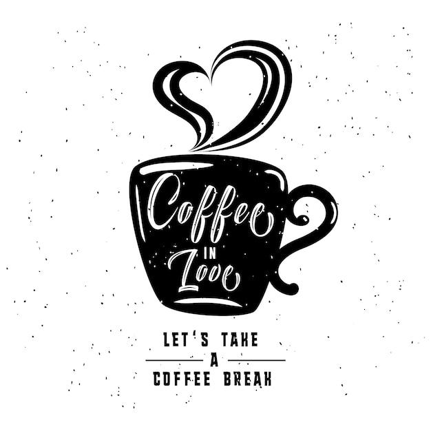 Café no amor. estilo antigo de moda quadros de café e rótulos com fitas vintage. Vetor Premium