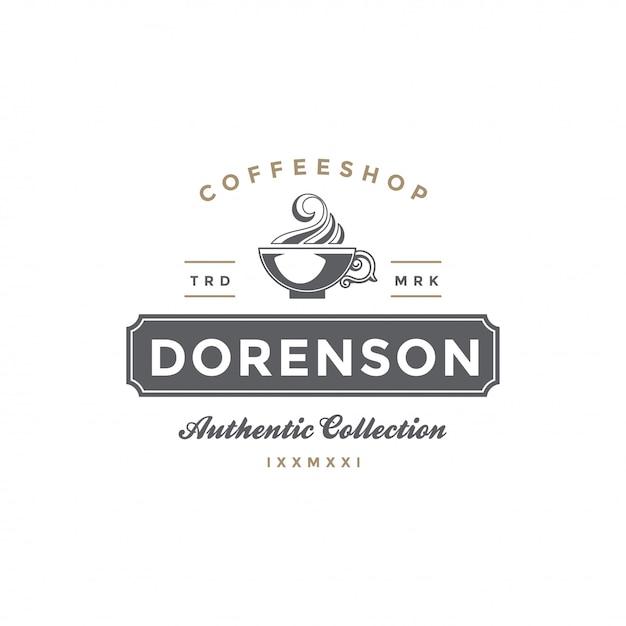 Café ou chá loja emblema modelo copa silhueta Vetor Premium