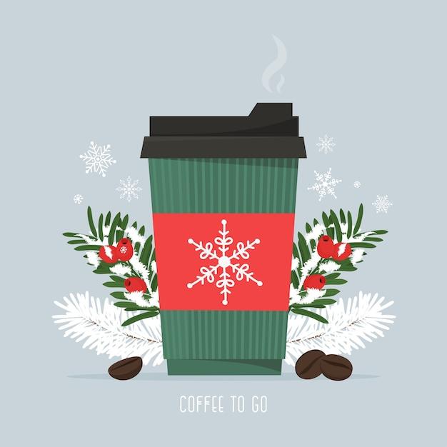 Café quente em um copo de papel com grãos de café e ramos de pinheiro de natal temporada de queda de neve bebida quente de café para viagem ilustração vetorial em estilo simples Vetor Premium