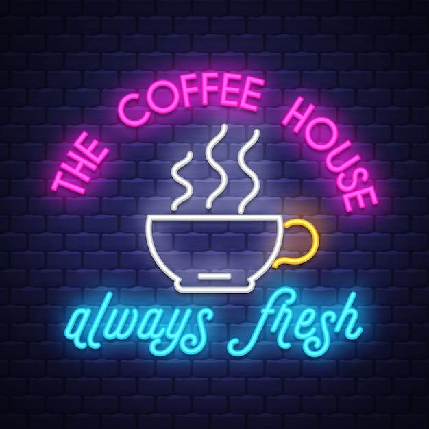 Café, sinal néon Vetor Premium