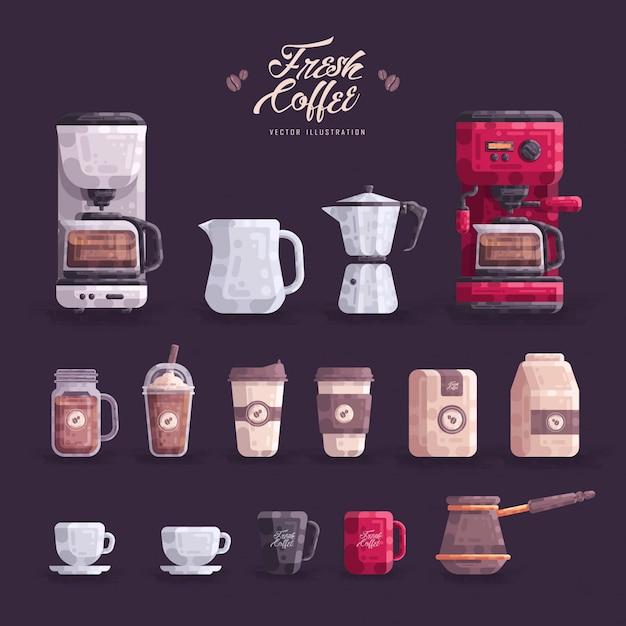 Cafeteira loja equipamento set ilustração vetor Vetor Premium