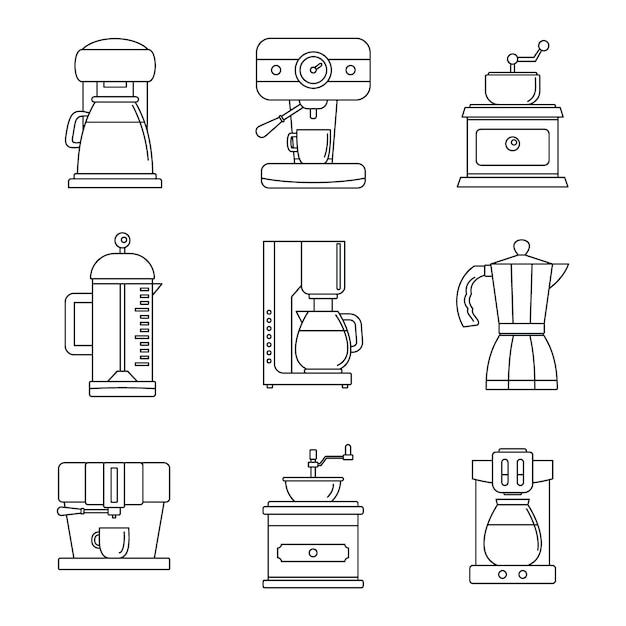 Cafeteira pote espresso conjunto de ícones Vetor Premium
