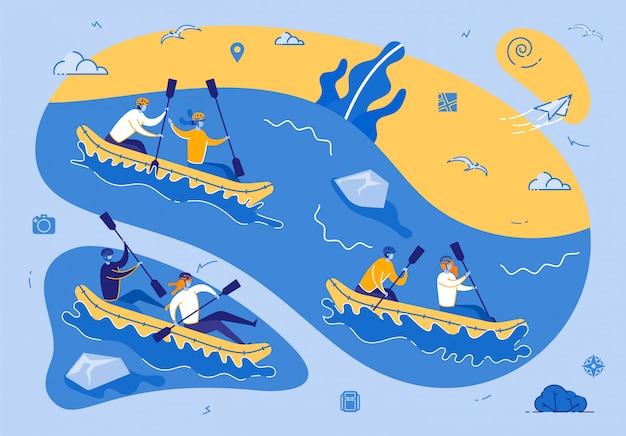 Caiaque ou rafting esporte competição extreme Vetor Premium