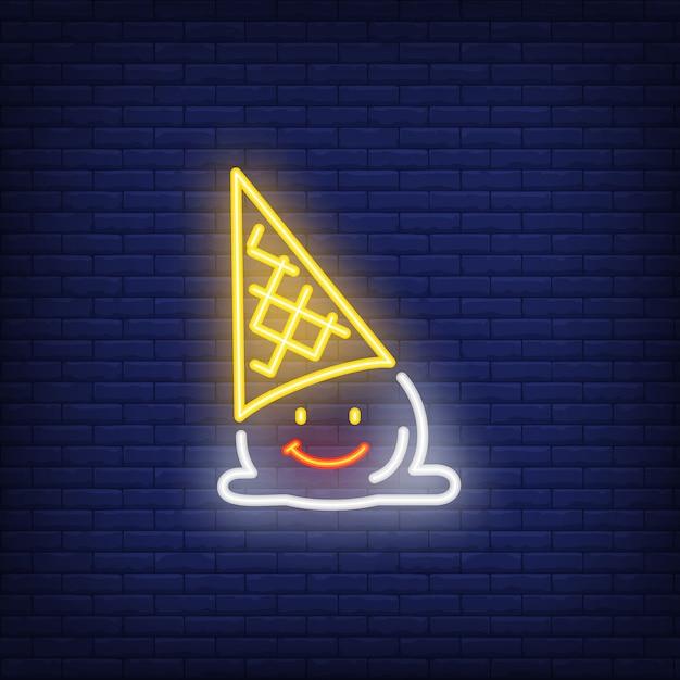 Caído sinal de néon de personagem de sorvete Vetor grátis
