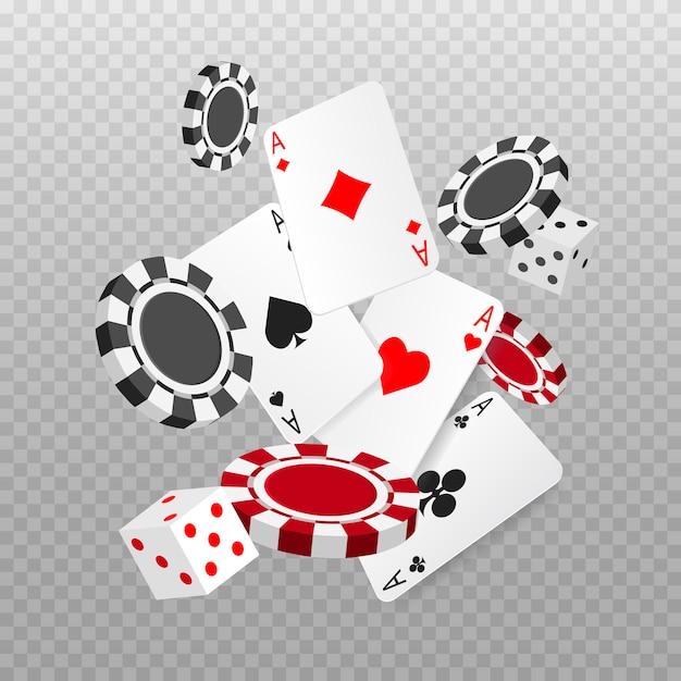 Cair ou voar cartas de pôquer de ases, jogar fichas e dados. cartão de jogo. cassino Vetor Premium