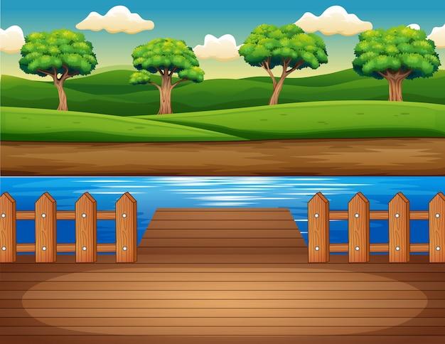 Cais de madeira com vista para a floresta Vetor Premium