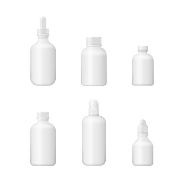 Caixa 3d médica em branco. design de embalagem de plástico branco. conjunto de vários frascos médicos para medicamentos, pílulas, comprimidos e vitaminas. Vetor Premium