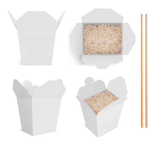 Caixa branca com arroz e pauzinhos, embalagem de papel para comida chinesa ou japonesa. Vetor grátis