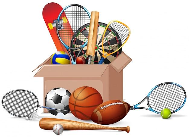 Caixa cheia de equipamentos esportivos Vetor grátis