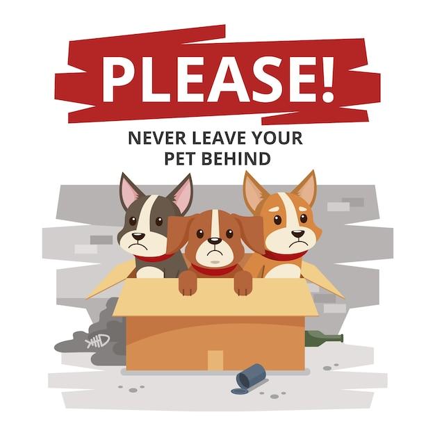 Caixa com cães tristes deixados para trás Vetor grátis