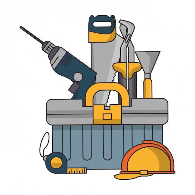 Caixa com ferramentas de construção Vetor Premium