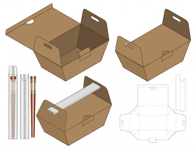 Caixa de alimentos embalagem design de modelo de corte. 3d Vetor Premium