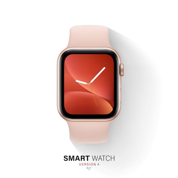 Caixa de alumínio de cor ouro de relógio inteligente em fundo branco. Vetor Premium