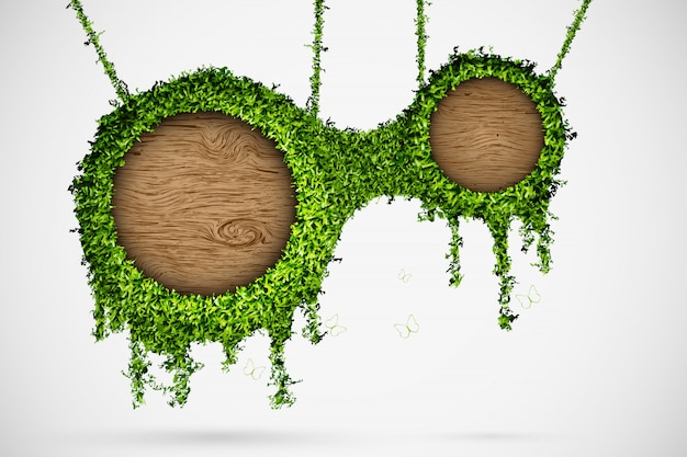 Caixa de bate-papo de grama e árvores, pendurado na corda Vetor Premium