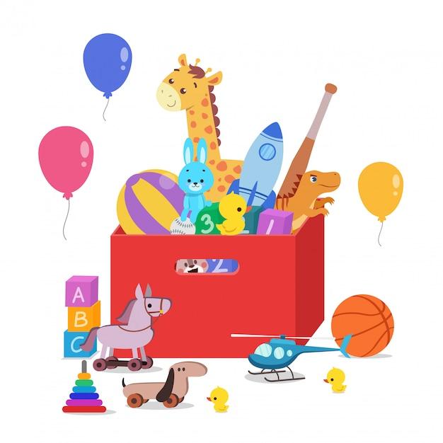Caixa de brinquedos cheia de brinquedos para crianças Vetor Premium
