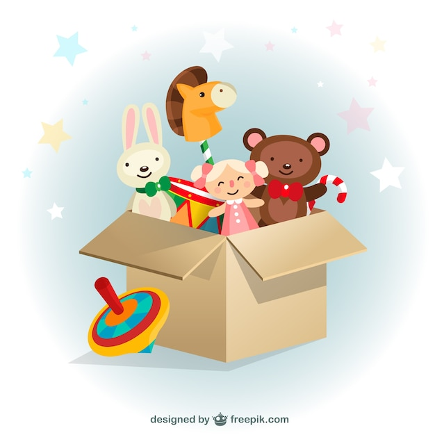 Caixa de brinquedos Vetor Premium