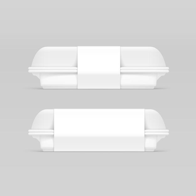 Caixa de comida de embalagem em branco branco Vetor Premium