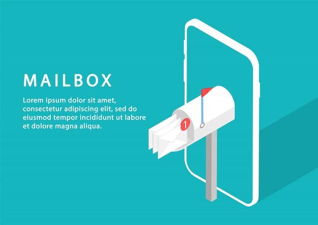 Caixa de correio no telefone. serviço de email. marketing de email. isométrico. páginas da web modernas para sites da web. Vetor Premium